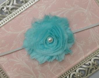 10% OFF...Baby Headband - Aqua Flower Headband- Aqua Headband - Toddler Headband - Aqua Baby Headband - Newborn Headband