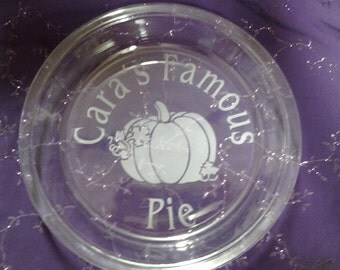 Personalized Pie Dish, Etched bakeware, Etched glass pie pan, Halloween dish, Christmas gifts, Fall gifts