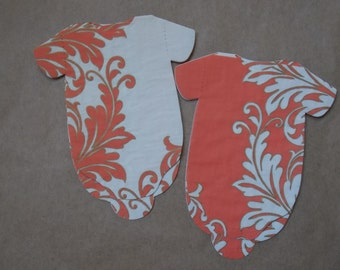 25 Baby Shower Napkins, Onesie, Orange, Flowers, 3 Ply, Dessert Bar