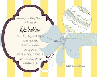 Hand Sketched Baby Rattle Shower Invitation
