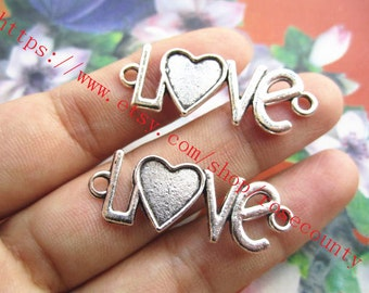 wholesale 100pcs 35x13mm Antiqued silver  love connector charms findings