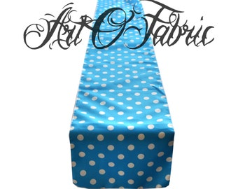 Decorative Cotton White Polka on Turquoise Table Runner
