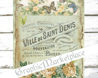 French Butterflies Papillons Large Image Instant Download Vintage Transfer Fabric digital collage sheet printable No. 1175
