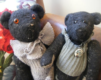 Vintage Pair of Black Handmade Teddy Bears With Their Original Knitted Outfits