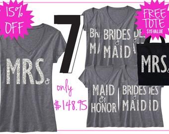 BRIDAL WEDDING 7 SHIRTS 15% Off Bundle, Mrs Shirt, Bridesmaid shirt, maid of honor shirt, wedding, mrs, bridesmaid, maid of honor, bridal