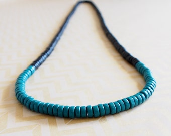 Black and green wooden colour block rondelle bead necklace