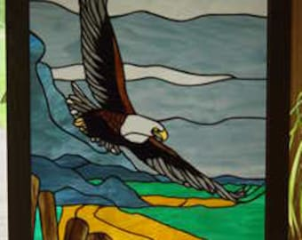 Stained Glass Bald Eagle Panel