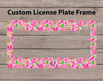custom monogram license plate frame lilly pulitzer inspired car tag frame personalized license plate