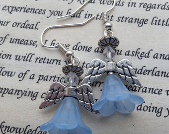 Christmas Earrings, Angel Earrings Guardian Angel Dangle Earrings in Light Blue, Dangle Earrings.