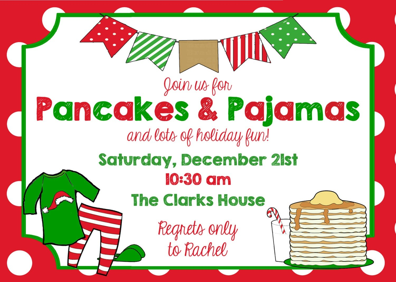 Printable Pancakes & Pajamas Christmas Party by ...