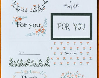 8 Rectangular Floral Thank You Stickers for Cards, Invitations, etc