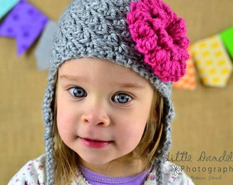 Crochet Scalloped Hat  with ear flaps, removeable flower