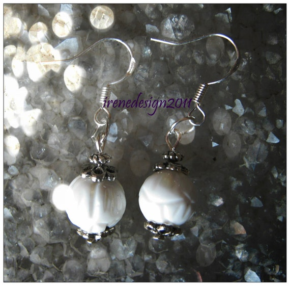 Handmade Silver hook Earrings with Carved White Coral