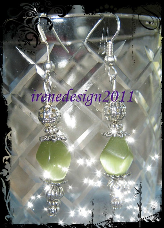 Handmade Beautiful Silver Hook Earrings with Shaped Green Cateye by IreneDesign2011