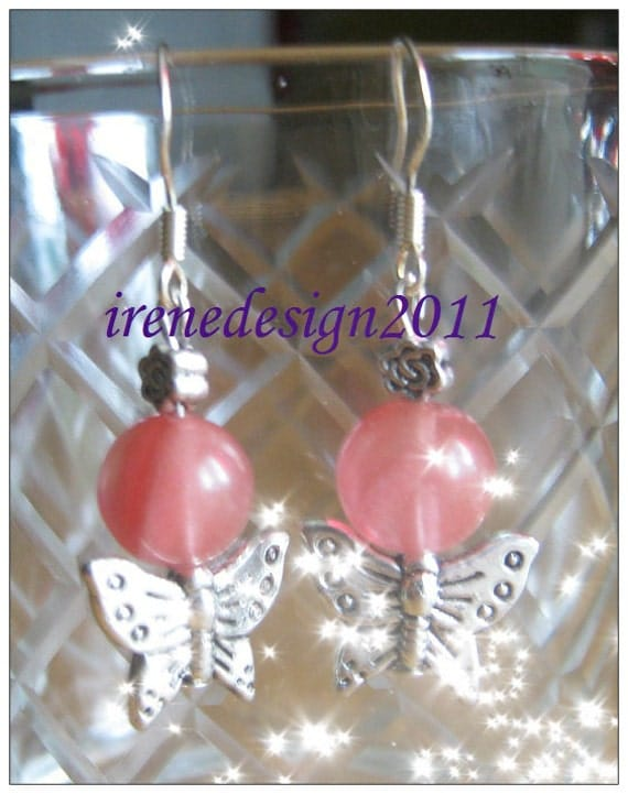 Handmade Silver hook Earrings with Strawberry Quartz & Butterflies by IreneDesign2011