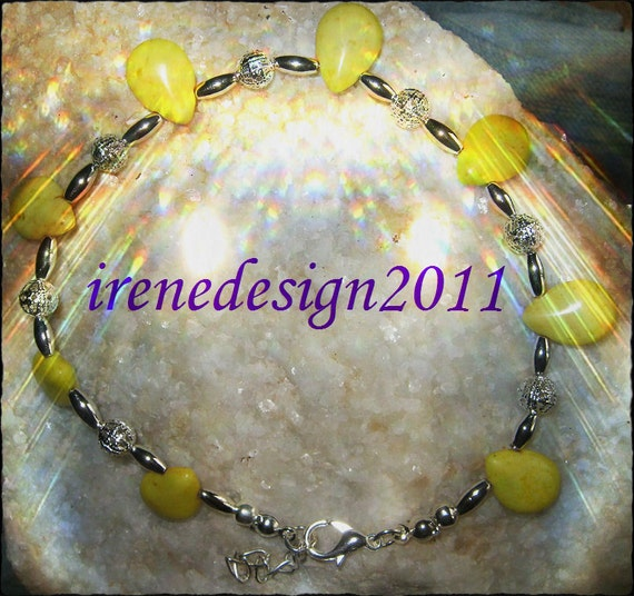 Handmade Silver Anklet with Yellow Howlite Drops by IreneDesign2011