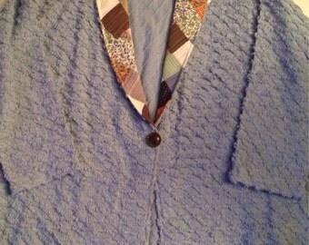 V9      Beautiful blue chenille jacket  women's 2X