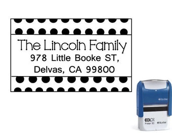 Custom Self-inking return address stamp  - Polka Dot -  SIA56