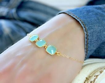 14k Gold Filled Mint Bracelet Mint Connector Bracelet Bridesmaid Bracelet Aqua Bracelet Turquoise Mint Blue Bracelet Mint Jewelry Weddings