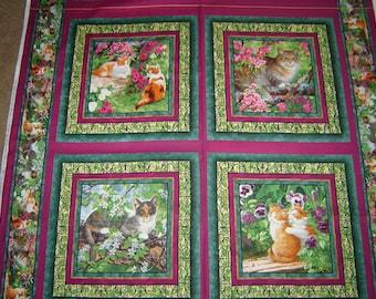 """Per panel, """"Simple pleasures"""" fabric cats"""
