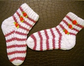 Knitted baby socks, baby booties, warm socks, white with strips, handmade