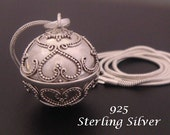 Sterling Silver Harmony Ball with Balinese Hearts Designs on the 925 Silver Chime Ball | Bola Necklace, Angel Caller, Pregnancy Gift 475