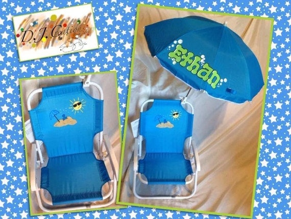 personalized kids beach chair with umbrella by djccreations2013. Black Bedroom Furniture Sets. Home Design Ideas