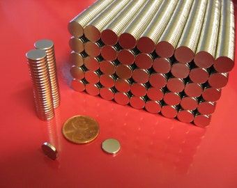 100  Neodymium Disc Magnets 3/8 x 1/16 inch - Craft Magnets - Bottle Cap Magnets