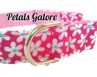 Pink  Dog Collar, Girly,  Petals Galore, Adjustable Sizes for small, medium, and extra large dogs