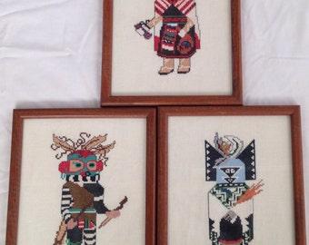Kachina Three Native American Cross Stitch Pictures