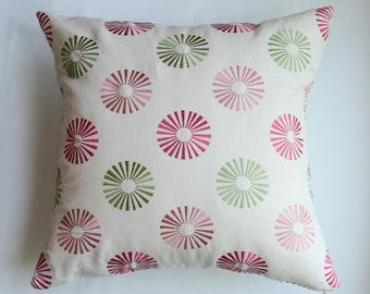 Modern Embroidered Dots Pillow Cover in Red and Green from Jaclyn Smith Home Collection with Trend Fabrics