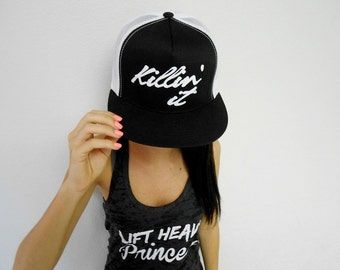 Killin' It Hat. Snapback Cap. Killin It Gym Hat. Flat Bill Workout Cap Hat. Retro Snapback. Flat bill workout hat. Womens Trucker Hat.