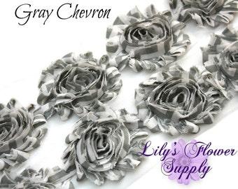 Shabby Rose Trim Gray Chevron - Shabby Flower Trim - Wholesale Trim - Chiffon Flower - Shabby Chic - Rose Trim - Shabby Trim