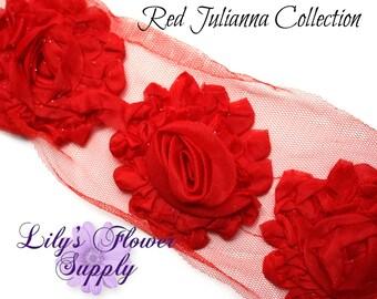 Red Shabby Rose Trim - Shabby Flower Trim - Shabby trim - Shabby Flower - Chiffon Flower - Shabby Chic - Rose Trim - Wholesale - Julianna