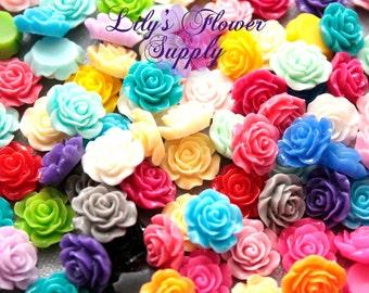 Resin Rose Button - Rose Center Piece - Flatback Button - Resin Rose- Pearl Button - Wholesale - You pick colors - 10 Pieces