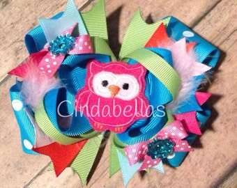 Stacked Boutique Hair Bow - Owl