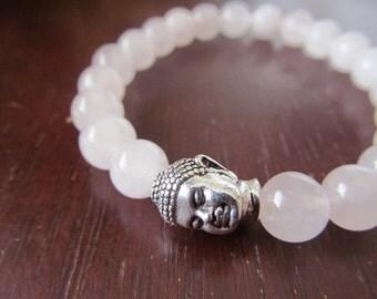 Rose Quartz and Buddha Bracelet, Energy Bracelet, Yoga Bracelet, Yoga Jewelry, Meditation Bracelet, Spiritual Jewelry, Pink Bracelet
