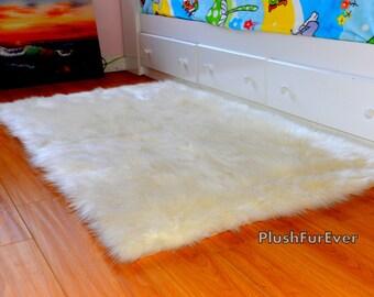 8u0027 x 10u0027 sheepskin shag fur area rug luxury shaggy living room faux fur