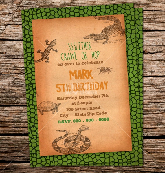 Custom Printable Reptile Birthday Party Invitation Snake Lizard