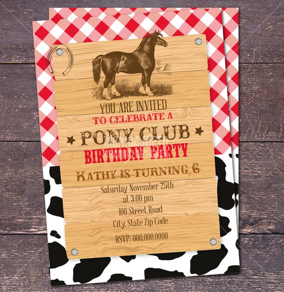 Horse pony cowgirl rodeo birthday invitation horse party il570xn stopboris Image collections