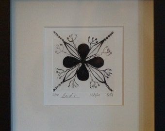 Limited edition dry point print, black flower design by the artist