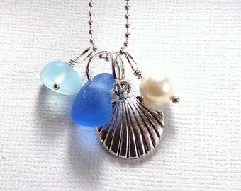 Scallop Shell Sea Glass Jewelry Beach Glass Necklace