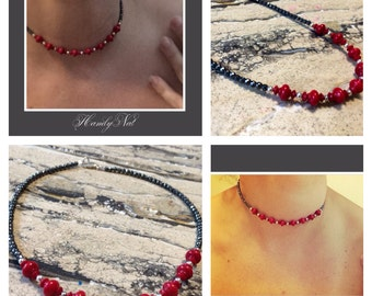 BOLD Statement  sterling silver Red coral and Hematite necklace.