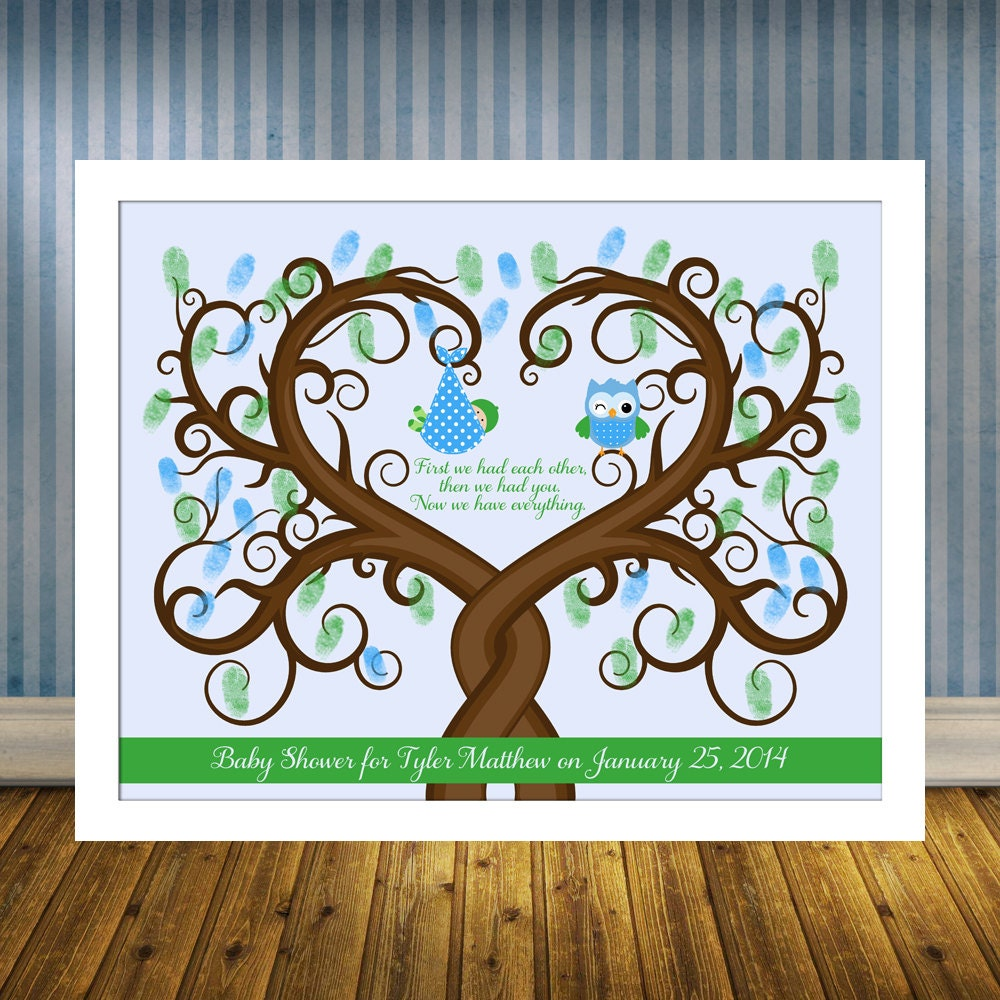 baby shower guest book alternative baby shower thumbprint