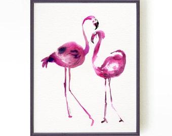 Flamingo painting, Bird watercolor art, Famingo print, Bird print, Wall art,  Tropical print, Animal painting, Fuchsia, Living room art