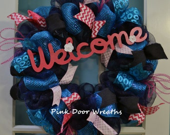 Wreath NAVY WELCOME teal blue navy bright pink ribbons- made to order