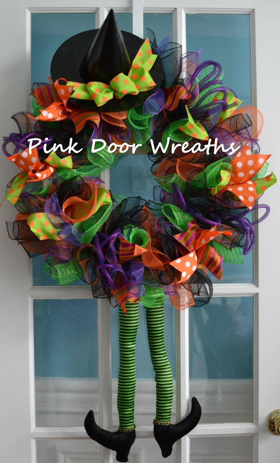 Halloween wreath halloween witch legs wreath witch hat for Best place to buy wreaths