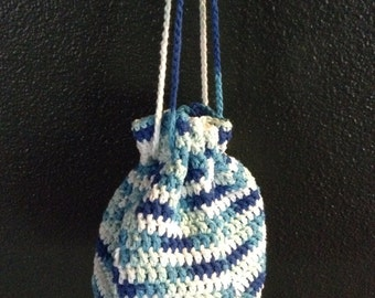 Spring bag, bags and purses, drawstring bag, handcrafted crochet, summer bag