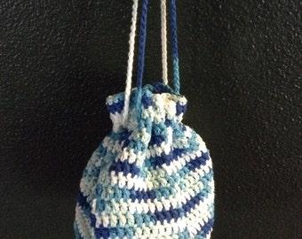 Spring bag, bags and purses, drawstring bag, handcrafted crochet, summer bag