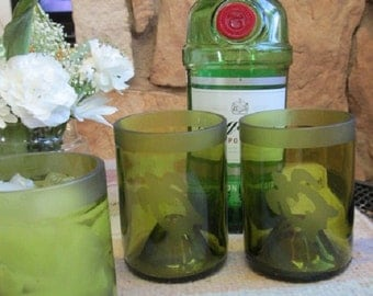 Reimaged Green Wine Bottle Tumblers Etched with Simple Sea Turtle